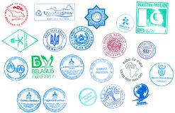 Stamps of the countries participating in the International Specialized Exhibition EXPO 2017 `Future Energy` Astana, Kazakhstan. Stamps of the countries Royalty Free Stock Photos
