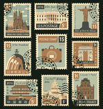 Stamps with different architectural attractions Royalty Free Stock Images