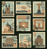 Stamps with different landmarks Stock Images