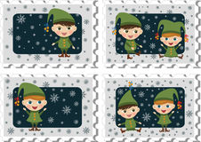 Stamps with elves vector illustration