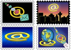 Stamps with email theme Stock Photos