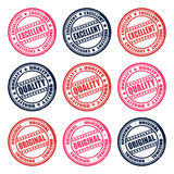 Stamps excellent, quality, original. Set of colorful stamps, vector illustration Royalty Free Stock Photography
