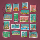 Stamps with famous architectural compositions Stock Photos