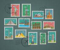 Stamps with famous architectural compositions. Postage stamps and postmarks with famous architectural compositions vector illustration. Worldwide architecture Royalty Free Stock Image