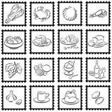 Stamps with food symbols. 16 stamps with food symbols Royalty Free Stock Photo