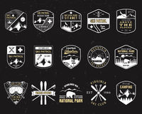 Free Stamps For Outdoors Camp. Different Tourism Hipster Style Patch And Badges. Expedition Emblem. Winter Or Summer Ski Stock Photo - 74770140