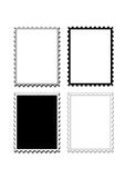Stamps frame edge or boarder. A set of four different black and white plus grey color stamps frame, edge or boarder with shadows behind. Each stamp is designed vector illustration