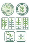 Stamps and icon with bio symbol Stock Image