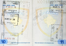 Stamps inside a Kosovo passport Stock Images