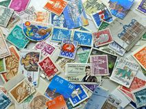 Stamps - International. Stamps from all over the world Royalty Free Stock Photo