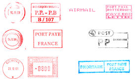 Stamps isolated over white. Postage meters, rubber stamps, mail labels isolated over white Royalty Free Stock Images