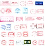 Stamps, labels and postmarks Stock Images