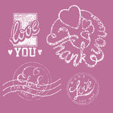 Stamps Love Set. Valentines Vector Grunge Set Of Stamps And Badges Royalty Free Stock Photography