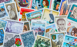 Stamps. Many different stamps are adjacent. collecting as a hobby Stock Photos