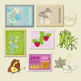 Stamps and nature Stock Image