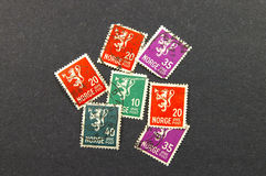 Stamps from Norway. Seven Norwegian postage stamps Royalty Free Stock Image