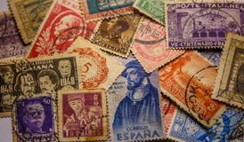 WORLD VINTAGE STAMP 1850-1955, FINE GRAFICS. Stamps of over a hundred years around the world gathered Stock Photography