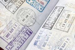 Stamps on passport Royalty Free Stock Image