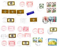 Stamps, postmarks and labels background Royalty Free Stock Images