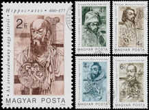 Stamps printed in Hungary show The Great  Pioneers of Medical Stock Photos