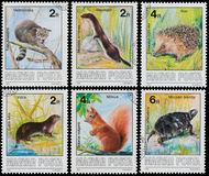 Stamps printed in Hungary show Protected Animals Stock Photography