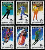 Stamps printed in Hungary show 1988 Winter Olympics, Calgary. HUNGARY - CIRCA 1987: Set of stamps printed in the Hungary show 1988 Winter Olympics, Calgary Stock Image