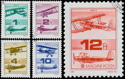 Stamps printed in Hungary shows Old Airplanes Stock Photography