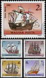 Stamps printed in Hungary shows Sailing Ships Stock Image