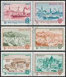 Stamps printed in Hungary shows View of Budapest Stock Photos