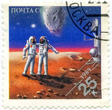 Stamps Printed In Russia Dedicated To Exploration In Space, Circ royalty free stock image