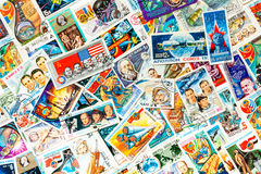 Stamps printed shows cosmos cosmic space Royalty Free Stock Photography