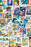 Stamps printed shows cosmos cosmic space Royalty Free Stock Image