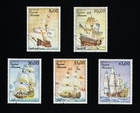 Stamps from Republic of Guinea-Bissau, issued in 1985. Collectible stamps from Republic of Guinea-Bissau, issued in 1985. Set of retro ships royalty free stock photo