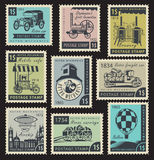 Stamps on the retro mechanics Royalty Free Stock Photo