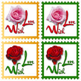 Stamps with roses Stock Image