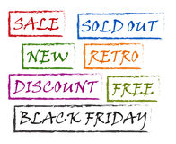 Stamps - Sale, new, sold out, discount, free, black friday Stock Photo