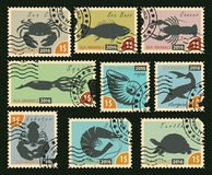 Stamps with sea animals Stock Photography