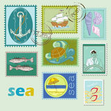 Stamps. Sea bright stamps and seal Stock Photo