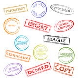 Stamps set. Colorful post or office marks isolated over white background Stock Photography