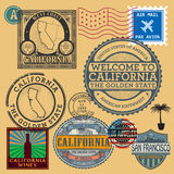 Stamps set with name of California, United States Stock Images