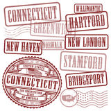 Stamps set with names of cities in State of Connecticut Stock Photo