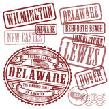 Stamps set with names of cities in State of Delaware Royalty Free Stock Images