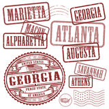 Stamps set with names of cities in State of Georgia Stock Photos