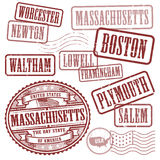 Stamps set with names of cities in State of Massachusetts Royalty Free Stock Photo