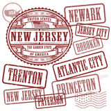 Stamps set with names of cities in State of New Jersey Stock Photos