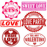 Stamps set for Valentine day Stock Photos
