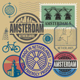 Stamps set with words Netherlands, Amsterdam Royalty Free Stock Photos