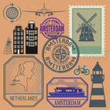 Stamps set with words Netherlands, Amsterdam inside Stock Photography