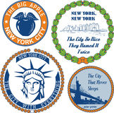 Stamps and signs with nickname of New York City Stock Photo
