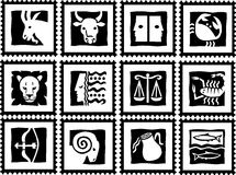 Stamps with signs of the zodiac. White stamps with black signs of the zodiac. Available as EPS-File Stock Image
